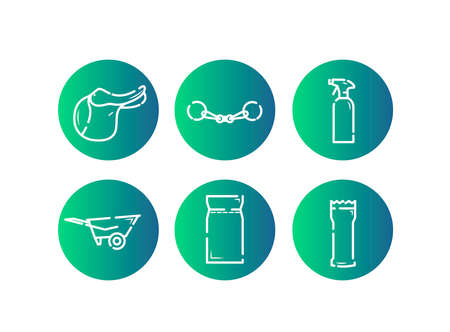Horse equipment icons. Horse equipment icons. Horse care tools icons set on green background. Saddle, fishing rod, cleaning agent, horse carriage for stables, feed, grooming Ilustração