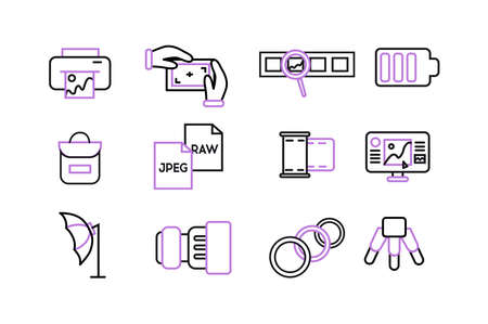 Icons photographer. Photographer equipment icons set with purple color