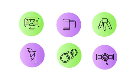 Icons photographer. Photographer equipment icons set colored. Monitor, photographic film, tripod, umbrella-softbox, ring lamp, film with a magnifying glass