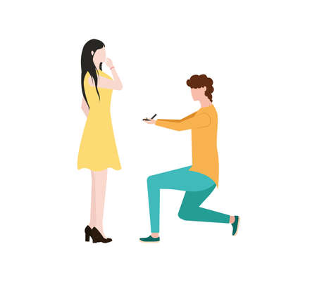 A man makes a marriage proposal to a woman. A man stands on one knee in front of a woman. The guy with the ring makes a marriage proposal.