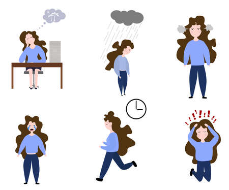 Set of emotions of vector icons! Woman is experiencing fear, horror, depression, sadness, stress. Ilustración de vector