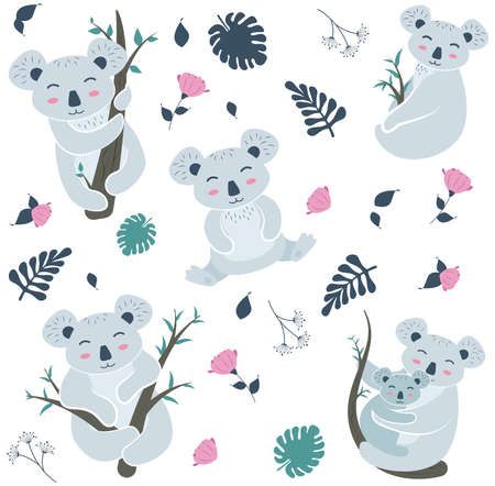 Cute Koala Poses Cartoon Vector Illustration Ilustração