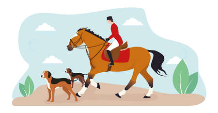 A horseback riding. Illustration of a jockey riding a horse, nearby running dogs, on a background of sky and leaves. Hunting horseback rider with dogs.
