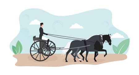 Horse riding illustration. Illustration of a competition of horse carts. Image of a horse in a harness with a steward. Illustration of a horse carriage with a male steward