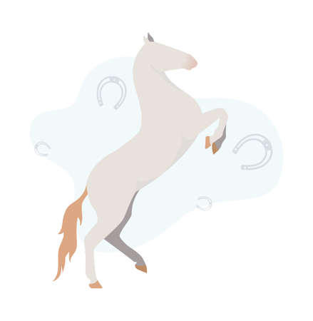 Illustration of a white horse on a background of a horseshoe. Image of a white horse with horseshoes on the background 向量圖像