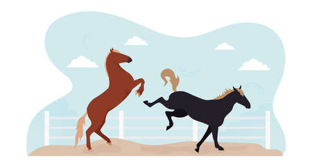 A horse in levada. Illustration of two horses jumping in a levada behind a fence. Image horses frolic in levada.