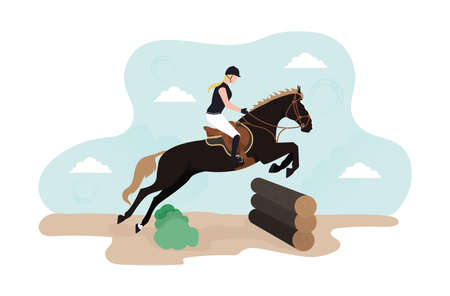 Illustration of horse cross. Equestrian Eventing. Illustration of a horse with a rider jumping over the barrier from the wooden log cabins.A horseman on a horse jumps over an obstacle against a cloud.