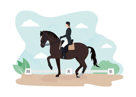 Training piaffe in a dressage arena. Astride a horse Stock Illustratie