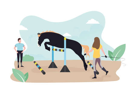 Free jumping of a young horse with keys for miscalculation. Springarten The horse jumps through the keys. Stallion passes obstacles. A woman is training a horse.