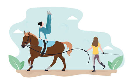 Vaulting illustration. Acrobatics on a horse. A woman is training a horse. A girl performs tricks on a horse. Gymnastics on a horse