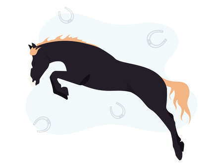 Horse illustration. Illustration of a black horse on a background of a horseshoe. Image of a black horse with horseshoes on the background 向量圖像