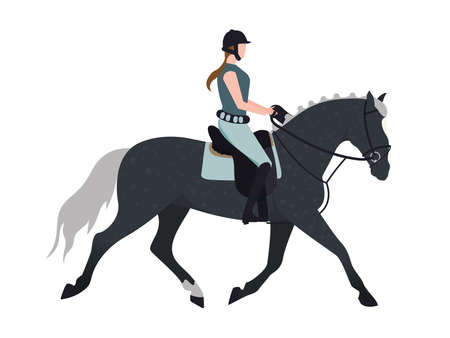 A jockey on a horse. Illustration of a girl riding a horse. Illustration of a woman riding a stallion. Image of a horsewoman on a racehorse.
