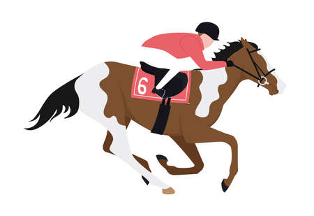 A jockey on a prancing horse. Illustration of a horse trotting with a rider at the back. Illustration of a rider riding a horse