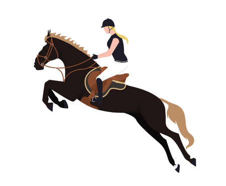 A horsewoman on a horse. Illustration of a girl riding a bouncing horse. Illustration of a woman riding a stallion.