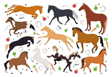 Illustration with horses. Illustration pattern with a horse, stirrups, bit, horseshoe, saddle, bridle, apple, carrot. Illustration of horses and horse harness Vetores