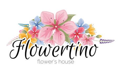 Bright logo for flower shop. Vector design