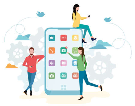 Young men and women are standing near big smartphone and using smart phones, reading news and texting message to friends. Dependence on social networks. Internet addiction. Smartphone addiction