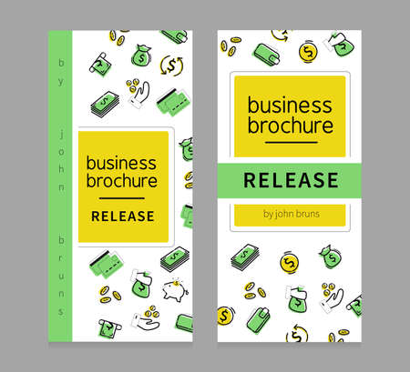 Business brochure, banner. Release. About money. Elements on the banner: Money, wallet, piggy bank, coins, bag of money, credit cards. 일러스트