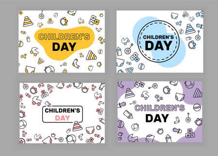Children's Banner. Cubes, pacifier, stroller, sock, bib, ball, pyramid, rattle, bottle, underpants, diaper.
