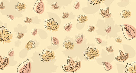 Autumn. Fall of the leaves. Background with autumn leaves. Sketch, doodles, design elements. Vector illustration.  イラスト・ベクター素材