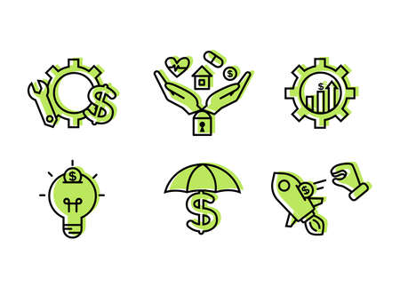 Financial services icons set. Icons insurance, venture capital, asset management. Icons gear with a mechanical key and a dollar sign, palm with a lock, a house, a heart, a tablet and a coin.  イラスト・ベクター素材