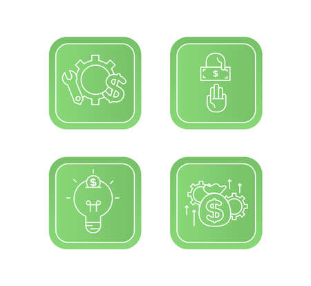 Financial services icons set. Icons venture capital, asset management, wealth management. Icons light bulb with a coin, gear with a mechanical key and a dollar sign, two hands, one of which gives a bill