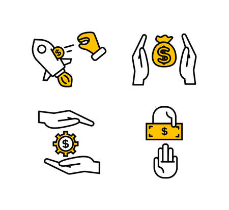 Financial services icons set. Icons venture capital, asset management, insurance. Icons money bag between the palms, gear with a dollar sign between the palms, two hands, one of which gives a bill.