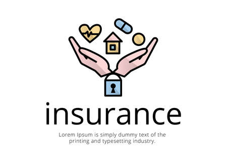 Financial services. Logo fucking. Illustration emblem two hands near, below the castle, on them is a house, tablet, heart with a cardiogram, coin, inscription insurance, text.