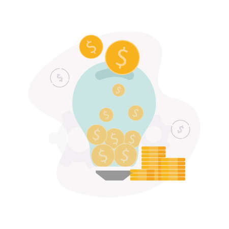 Venture capital. Illustration of a light bulb with coins inside and above it, next to a stack of coins, on a dollar sign background.