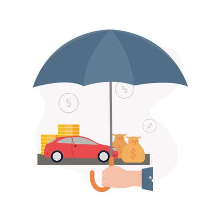 Insurance. Illustration of a hand holds an umbrella under which a machine, stacks of coins, a money bag, on the background of dollar signs.