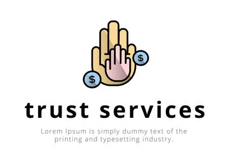 Finance. Financial services. Trust Services. Fiduciary services. Illustration of a big palm on it is a small palm, coins, text, inscription trust services