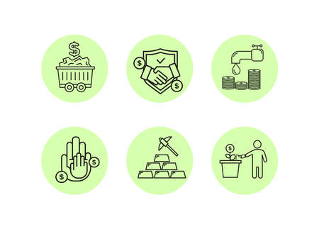 Finance icons. Financial services icons set. Icons of resource financing, trust services. A silhouette of a man watered a plant in a pot, instead of a bud, a dollar coin, a drop falls from the tap.