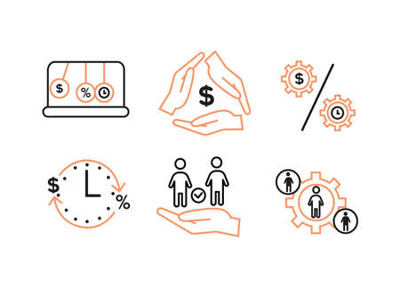 Finance icons. Financial services icons set. Icons lending, financial intermediaries. Gear sign, inside silhouette, on the sides silhouettes in circles.