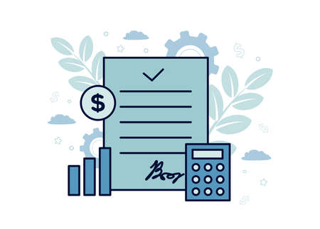 Finance illustration. Financial exchange. A document on it with a calculator, chart, coin, on the background of gears, clouds, branches with leaves, dollar signs, stars.