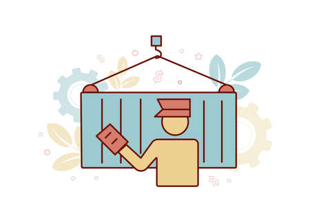 Finance illustration. Brokerage services. Customs Broker. Illustration of a silhouette of a man in the form of a customs broker with a document in hand near a cargo container on a hook, against the background of a gear, dollar icon, branch with leaves, star Ilustración de vector