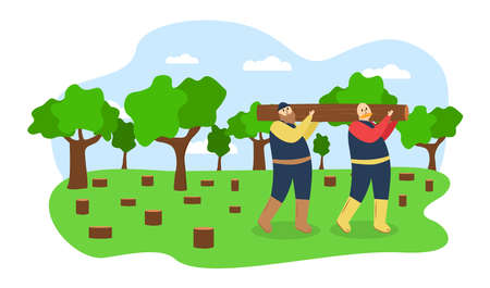 Ecology illustration. Illustration of felling trees. Two men carry a felled tree. Illustration