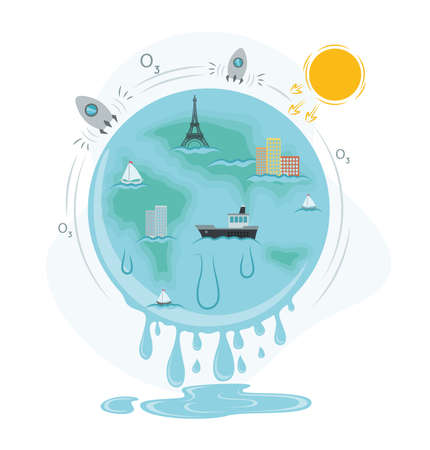 Global warming illustration. Image of a planet with which water flows, drops form a puddle, around a strip with rockets and the sun, on the planet Eiffel Tower, ship, sailboats, buildings