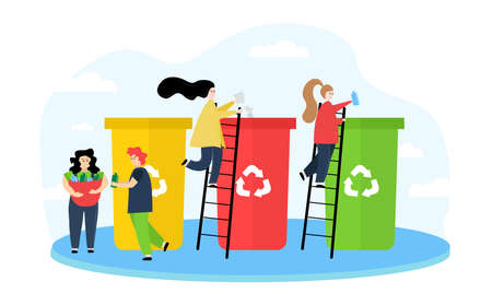 Illustration ecology. The image shows people sorting waste, a girl holds a bag with garbage, women on the stairs throw garbage in bins, against a cloud.