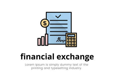 Finance. Financial services. Illustration of a document logo on it with a calculator, chart, coin, text, inscription financial exchange