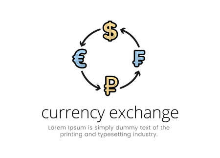 Finance. Financial services. Logo graphic designations of world currencies with insoles in a circle, the inscription currency exchange.