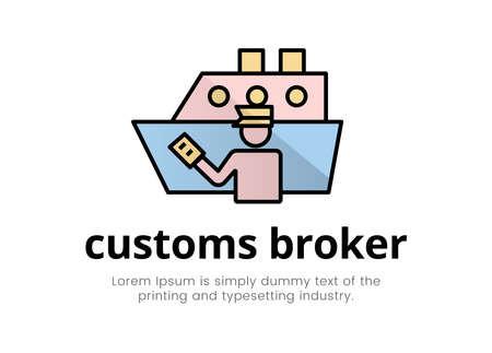 Finance. Financial services. Illustration of a silhouette logo of a man in the form of a customs broker with a document in hand near a cargo ship, text lettering customs broker Logos