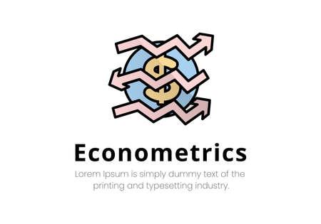 Vector finance illustration. econometrics. Dollar icon on which broken arrows in different directions, inscription econometrics.