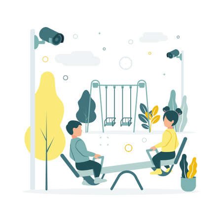 CCTV. Vector illustration of children swinging on a swing at the playground in kindergarten, video surveillance cameras are shooting, against the background of trees, plants, clouds Ilustração