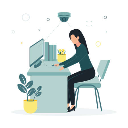 CCTV. Vector illustration a surveillance camera shoots a woman sitting at a table on a chair, working at a computer, next to a folder, a flower pot with houseplants.