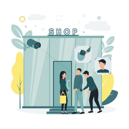 CCTV. Vector illustration of a surveillance camera removes a woman and a man standing near a store, records an attempt to steal a wallet from a man and a thiefs face
