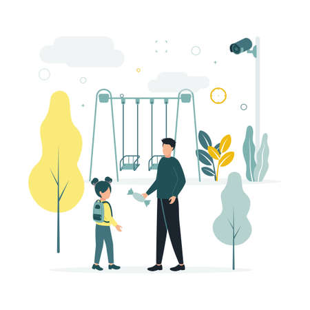 CCTV. A vector illustration of a surveillance camera shoots as a man with a candy turns to a girl with a backpack near a swing, on a background of trees, heaps, leaves, clouds