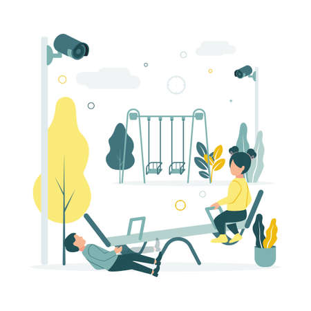 CCTV. Vector illustration of children swinging on a swing at the playground in kindergarten, the boy fell, the surveillance cameras are filming, against the background of trees, plants, clouds