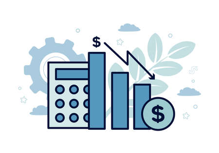 Finance. Vector illustration of econometrics. Icons of calculator, bar chart, dollar icon, down arrow, on the background of gears, plants, leaves, clouds, stars.