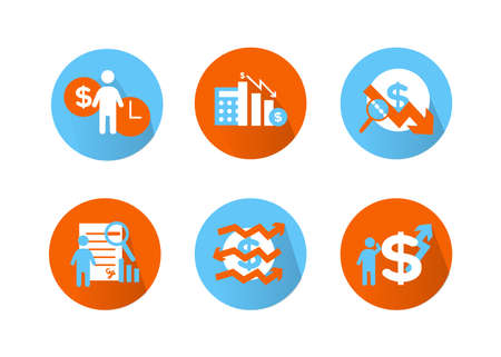 Finance icons set. Vector illustration of financial management, econometrics. A dollar sign, next to which is the silhouette of a man, followed by an up arrow Vecteurs