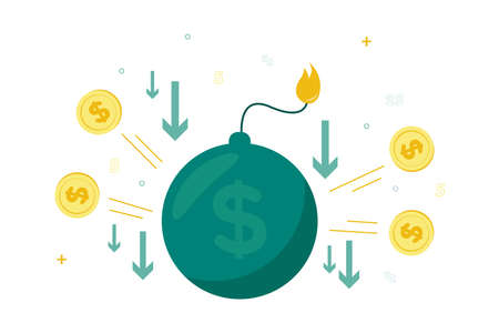 Finance. Vector illustration of devaluation. Bomb with dollar sign and burning felt, around dollar coin and down arrow